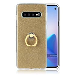 Luxury Soft TPU Glitter Back Ring Cover with 360 Rotate Finger Holder Buckle for Samsung Galaxy S10 (6.1 inch) - Golden
