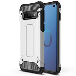 King Kong Armor Premium Shockproof Dual Layer Rugged Hard Cover for Samsung Galaxy S10 (6.1 inch) - Technology Silver