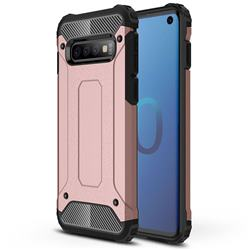 King Kong Armor Premium Shockproof Dual Layer Rugged Hard Cover for Samsung Galaxy S10 (6.1 inch) - Rose Gold