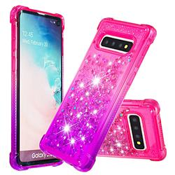 Rainbow Gradient Liquid Glitter Quicksand Sequins Phone Case for Samsung Galaxy S10 (6.1 inch) - Pink Purple