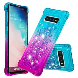 Rainbow Gradient Liquid Glitter Quicksand Sequins Phone Case for Samsung Galaxy S10 (6.1 inch) - Blue Purple