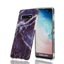 Gray Stone Marble Clear Bumper Glossy Rubber Silicone Phone Case for Samsung Galaxy S10 (6.1 inch)