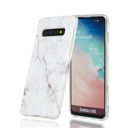 White Smooth Marble Clear Bumper Glossy Rubber Silicone Phone Case for Samsung Galaxy S10 (6.1 inch)