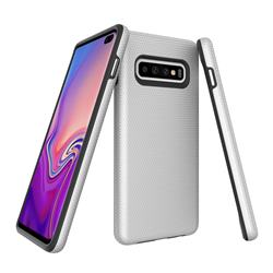 Triangle Texture Shockproof Hybrid Rugged Armor Defender Phone Case for Samsung Galaxy S10 (6.1 inch) - Silver