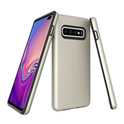 Triangle Texture Shockproof Hybrid Rugged Armor Defender Phone Case for Samsung Galaxy S10 (6.1 inch) - Golden