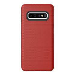 Triangle Texture Shockproof Hybrid Rugged Armor Defender Phone Case for Samsung Galaxy S10 (6.1 inch) - Red