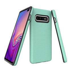 Triangle Texture Shockproof Hybrid Rugged Armor Defender Phone Case for Samsung Galaxy S10 (6.1 inch) - Mint Green