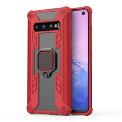 Predator Armor Metal Ring Grip Shockproof Dual Layer Rugged Hard Cover for Samsung Galaxy S10 (6.1 inch) - Red