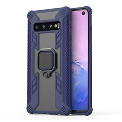 Predator Armor Metal Ring Grip Shockproof Dual Layer Rugged Hard Cover for Samsung Galaxy S10 (6.1 inch) - Blue