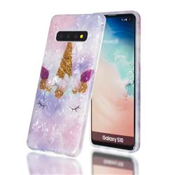 Unicorn Girl Shell Pattern Clear Bumper Glossy Rubber Silicone Phone Case for Samsung Galaxy S10 (6.1 inch)