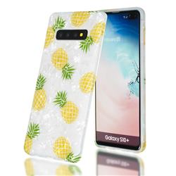 Yellow Pineapple Shell Pattern Clear Bumper Glossy Rubber Silicone Phone Case for Samsung Galaxy S10 (6.1 inch)