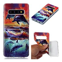 Flying Dolphin Soft TPU Cell Phone Back Cover for Samsung Galaxy S10 (6.1 inch)