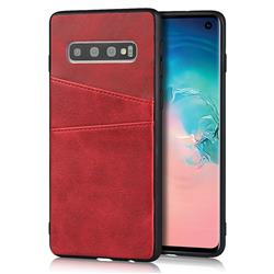 Simple Calf Card Slots Mobile Phone Back Cover for Samsung Galaxy S10 (6.1 inch) - Red