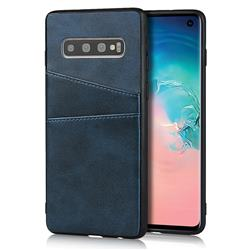 Simple Calf Card Slots Mobile Phone Back Cover for Samsung Galaxy S10 (6.1 inch) - Blue