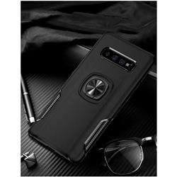 Knight Armor Anti Drop PC + Silicone Invisible Ring Holder Phone Cover for Samsung Galaxy S10 (6.1 inch) - Black