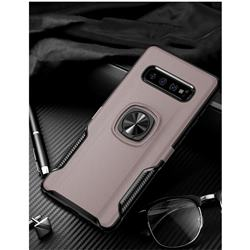 Knight Armor Anti Drop PC + Silicone Invisible Ring Holder Phone Cover for Samsung Galaxy S10 (6.1 inch) - Rose Gold