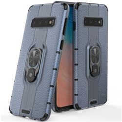 Alita Battle Angel Armor Metal Ring Grip Shockproof Dual Layer Rugged Hard Cover for Samsung Galaxy S10 (6.1 inch) - Blue