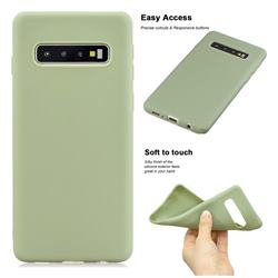 Soft Matte Silicone Phone Cover for Samsung Galaxy S10 (6.1 inch) - Bean Green