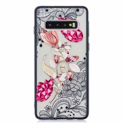 Tulip Lace Diamond Flower Soft TPU Back Cover for Samsung Galaxy S10 (6.1 inch)
