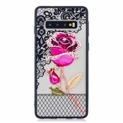 Rose Lace Diamond Flower Soft TPU Back Cover for Samsung Galaxy S10 (6.1 inch)
