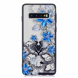 Lilac Lace Diamond Flower Soft TPU Back Cover for Samsung Galaxy S10 (6.1 inch)