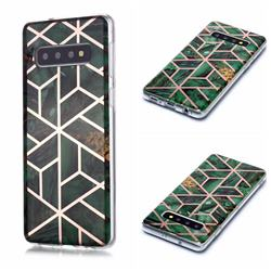 Green Rhombus Galvanized Rose Gold Marble Phone Back Cover for Samsung Galaxy S10 (6.1 inch)