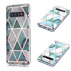 Green White Galvanized Rose Gold Marble Phone Back Cover for Samsung Galaxy S10 (6.1 inch)
