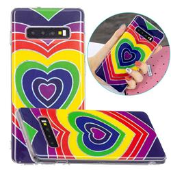 Rainbow Heart Painted Galvanized Electroplating Soft Phone Case Cover for Samsung Galaxy S10 (6.1 inch)