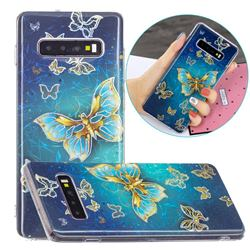 Golden Butterfly Painted Galvanized Electroplating Soft Phone Case Cover for Samsung Galaxy S10 (6.1 inch)