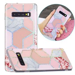 Pink Marble Painted Galvanized Electroplating Soft Phone Case Cover for Samsung Galaxy S10 (6.1 inch)