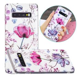 Magnolia Painted Galvanized Electroplating Soft Phone Case Cover for Samsung Galaxy S10 (6.1 inch)