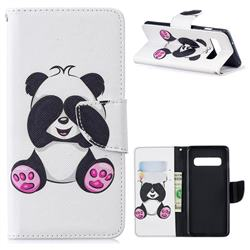Lovely Panda Leather Wallet Case for Samsung Galaxy S10 (6.1 inch)