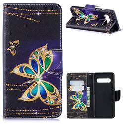 Golden Shining Butterfly Leather Wallet Case for Samsung Galaxy S10 (6.1 inch)