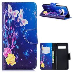 Yellow Flower Butterfly Leather Wallet Case for Samsung Galaxy S10 (6.1 inch)