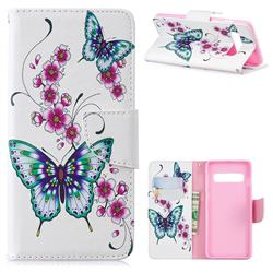 Peach Butterflies Leather Wallet Case for Samsung Galaxy S10 (6.1 inch)