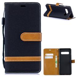 Jeans Cowboy Denim Leather Wallet Case for Samsung Galaxy S10 (6.1 inch) - Black