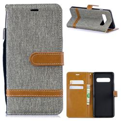 Jeans Cowboy Denim Leather Wallet Case for Samsung Galaxy S10 (6.1 inch) - Gray