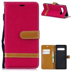 Jeans Cowboy Denim Leather Wallet Case for Samsung Galaxy S10 (6.1 inch) - Red