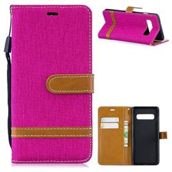 Jeans Cowboy Denim Leather Wallet Case for Samsung Galaxy S10 (6.1 inch) - Rose