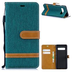 Jeans Cowboy Denim Leather Wallet Case for Samsung Galaxy S10 (6.1 inch) - Green