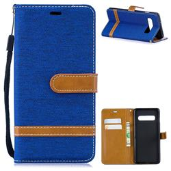Jeans Cowboy Denim Leather Wallet Case for Samsung Galaxy S10 (6.1 inch) - Sapphire