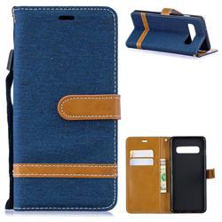 Jeans Cowboy Denim Leather Wallet Case for Samsung Galaxy S10 (6.1 inch) - Dark Blue
