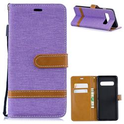 Jeans Cowboy Denim Leather Wallet Case for Samsung Galaxy S10 (6.1 inch) - Purple