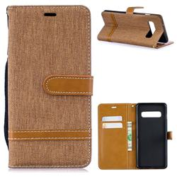 Jeans Cowboy Denim Leather Wallet Case for Samsung Galaxy S10 (6.1 inch) - Brown