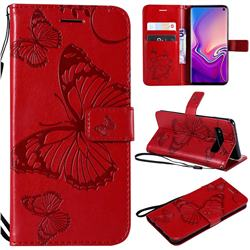 Embossing 3D Butterfly Leather Wallet Case for Samsung Galaxy S10 (6.1 inch) - Red
