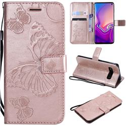Embossing 3D Butterfly Leather Wallet Case for Samsung Galaxy S10 (6.1 inch) - Rose Gold