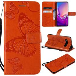 Embossing 3D Butterfly Leather Wallet Case for Samsung Galaxy S10 (6.1 inch) - Orange