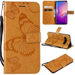 Embossing 3D Butterfly Leather Wallet Case for Samsung Galaxy S10 (6.1 inch) - Yellow