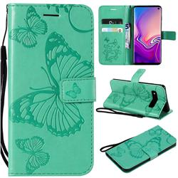 Embossing 3D Butterfly Leather Wallet Case for Samsung Galaxy S10 (6.1 inch) - Green