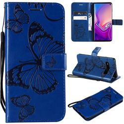 Embossing 3D Butterfly Leather Wallet Case for Samsung Galaxy S10 (6.1 inch) - Blue